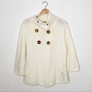True Grit Cream Embroidered Floral Sweater
